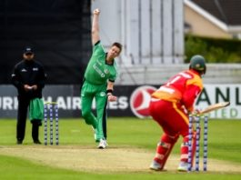 Boyd Rankin bowling against Zimbabwe at Bready, 2019