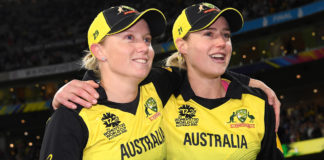 Good mates Alyssa Healy & Ellyse Perry after Australia claimed its fifth Women's World T20 title