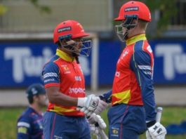 Dominic Hendricks(l) congratulate Ryan Rickleton of the Lions after reaching his 50 during the Momentum One Day Cup 2019/20