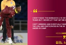 "Cricket West Indies - Player Spotlight: Keon Harding: ""I WANT MORE AND TO DO BETTER"""