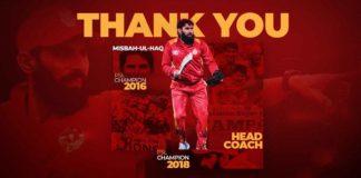 Islamabad United thanks Misbah-ul-haq