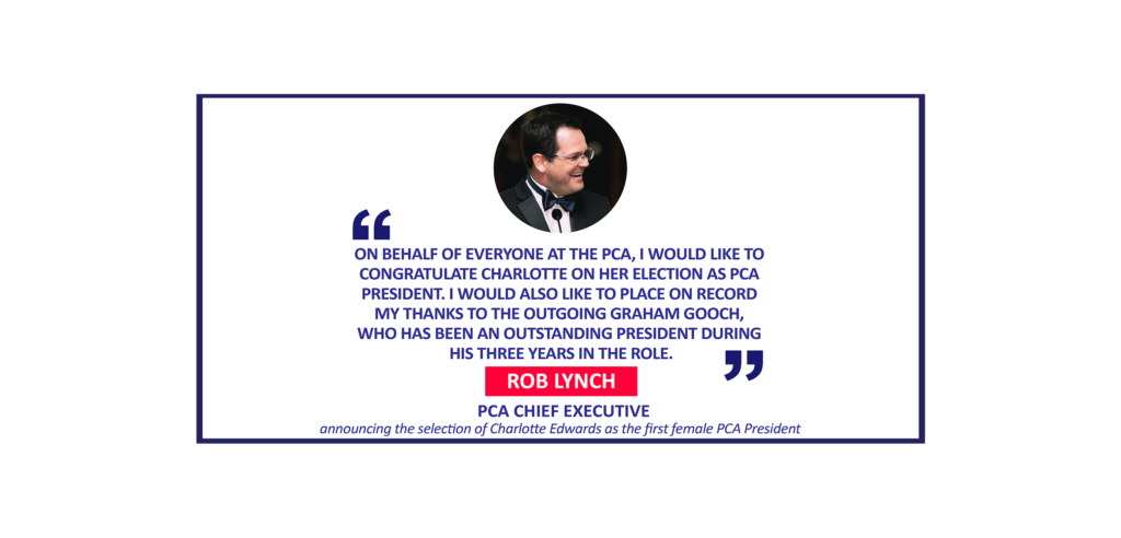 Rob Lynch, PCA Chief Executive announcing the selection of Charlotte Edwards as the first female PCA President