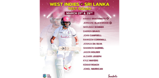 CWI: West Indies squad named for first test against Sri Lanka