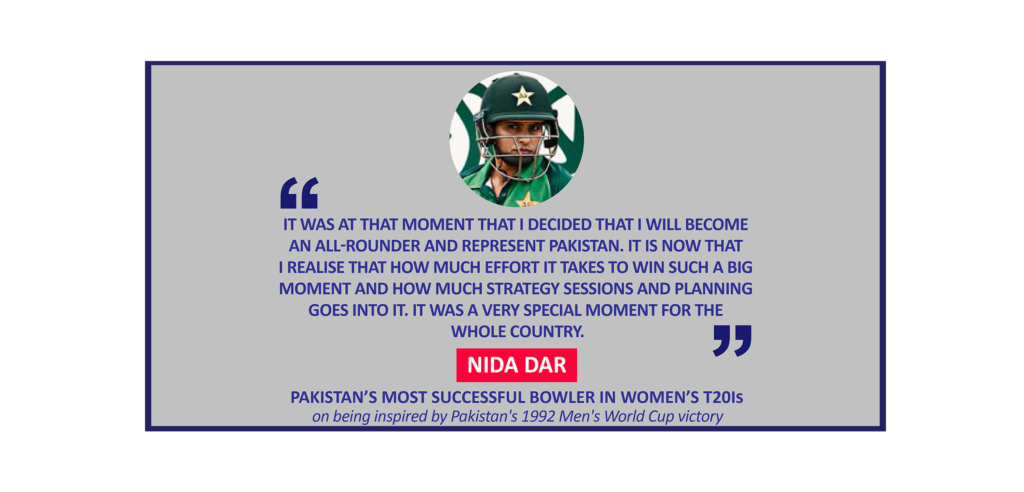 Nida Dar, Pakistan's most successful bowler in Women's T20Is on being inspired by Pakistan's 1992 Men's World Cup victory