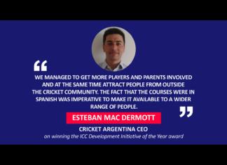 Esteban Mac Dermott, Cricket Argentina CEO on winning the ICC Development Initiative of the Year award