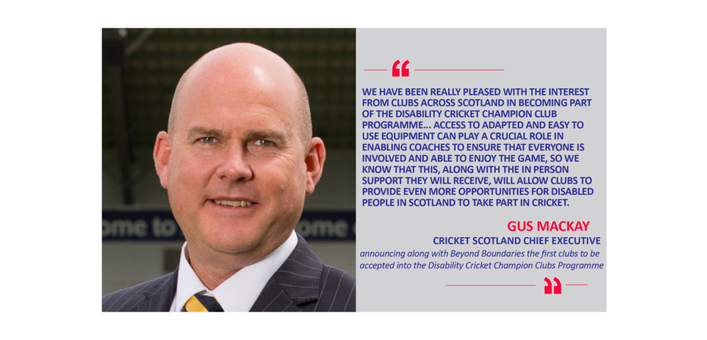 Gus Mackay, Cricket Scotland Chief Executive announcing along with Beyond Boundaries the first clubs to be accepted into the Disability Cricket Champion Clubs Programme