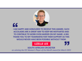 Lizelle Lee, South African Cricketer on winning the ICC Women's Player of the Month award for March 2021
