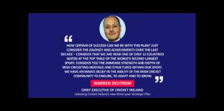 Warren Deutrom, Chief Executive of Cricket Ireland releasing Cricket Ireland's new three-year Strategic Plan