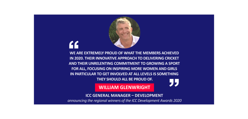 William Glenwright, ICC General Manager – Development announcing the regional winners of the ICC Development Awards 2020