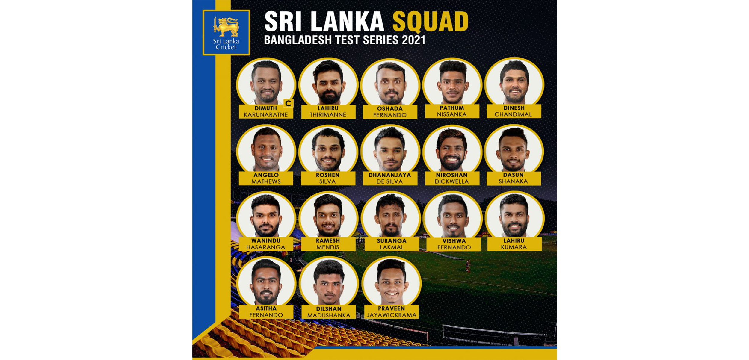 SLC: Sri Lanka squad for the 2-match Test series vs Bangladesh