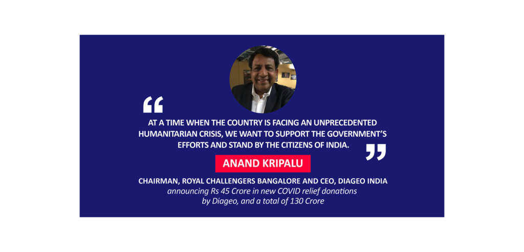 Anand Kripalu, Chairman, Royal Challengers Bangalore and CEO, Diageo India announcing Rs 45 Crore in new COVID relief donations by Diageo, and a total of 130 Crore