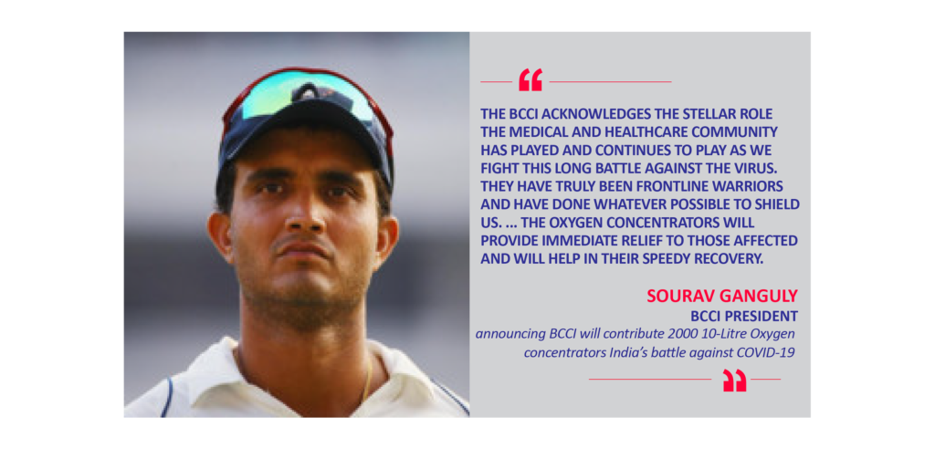 Sourav Ganguly, BCCI President announcing BCCI will contribute 2000 10-Litre Oxygen concentrators India's battle against COVID-19