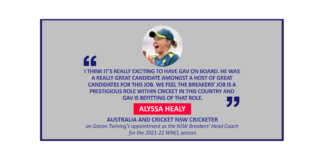 Alyssa Healy, Australia and Cricket NSW Cricketer on Gavan Twining's appointment as the NSW Breakers' Head Coach for the 2021-22 WNCL season