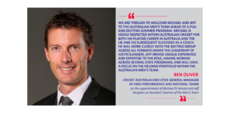 Ben Oliver, Cricket Australia Executive General Manager of High Performance and National Teams on the appointments of Michael Di Venuto and Jeff Vaughan as Assistant Coaches of the Men's Team