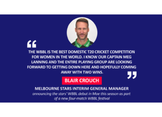 Blair Crouch, Melbourne Stars Interim General Manager announcing the stars' WBBL debut in Moe this season as part of a new four-match WBBL festival
