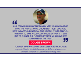 Dougie Brown, Former Warwickshire cricketer and PCA Chair on fundraising for the PCA by running a 1/2 marathon around the Palm Jumeirah in Dubai in the mid-day heat