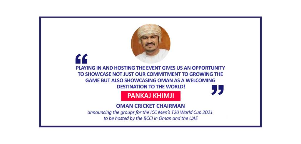 Pankaj Khimji, Oman Cricket Chairman announcing the groups for the ICC Men's T20 World Cup 2021 to be hosted by the BCCI in Oman and the UAE