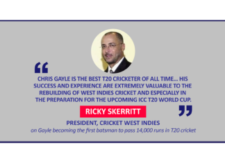 Ricky Skerritt, President, Cricket West Indies on Gayle becoming the first batsman to pass 14,000 runs in T20 cricket