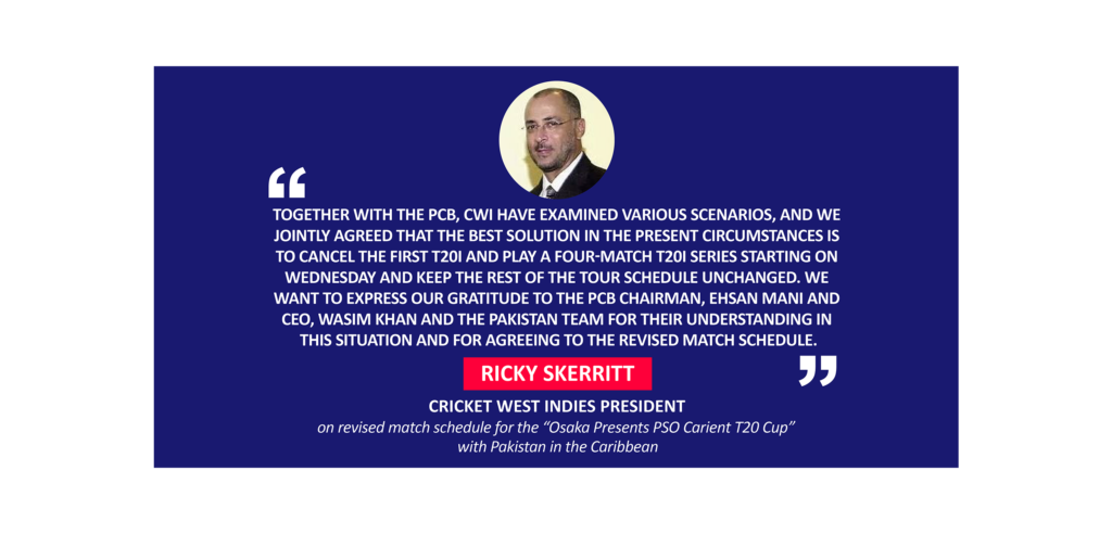 """Ricky Skerritt, Cricket West Indies President on revised match schedule for the """"Osaka Presents PSO Carient T20 Cup"""" with Pakistan in the Caribbean"""