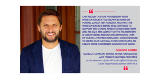 Shahid Afridi, Global Chairman, Shahid Afridi Foundation and former Pakistan Cricketer on the extension of the SAF as the official Corporate Social Responsibility partner of the PCB