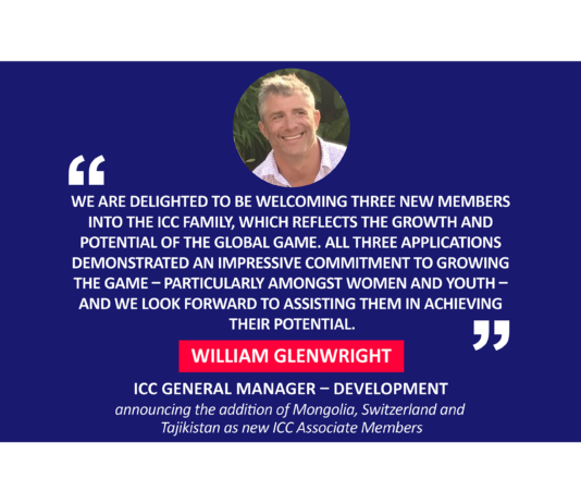 William Glenwright, ICC General Manager – Development announcing the addition of Mongolia, Switzerland and Tajikistan as new ICC Associate Members