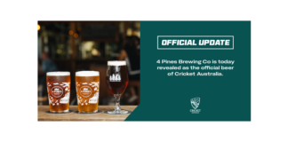 4 Pines Brewing Co. announced as the Official Beer of Cricket Australia