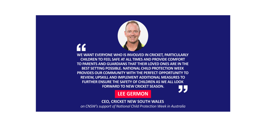 Lee Germon, CEO, Cricket New South Wales on CNSW's support of National Child Protection Week in Australia