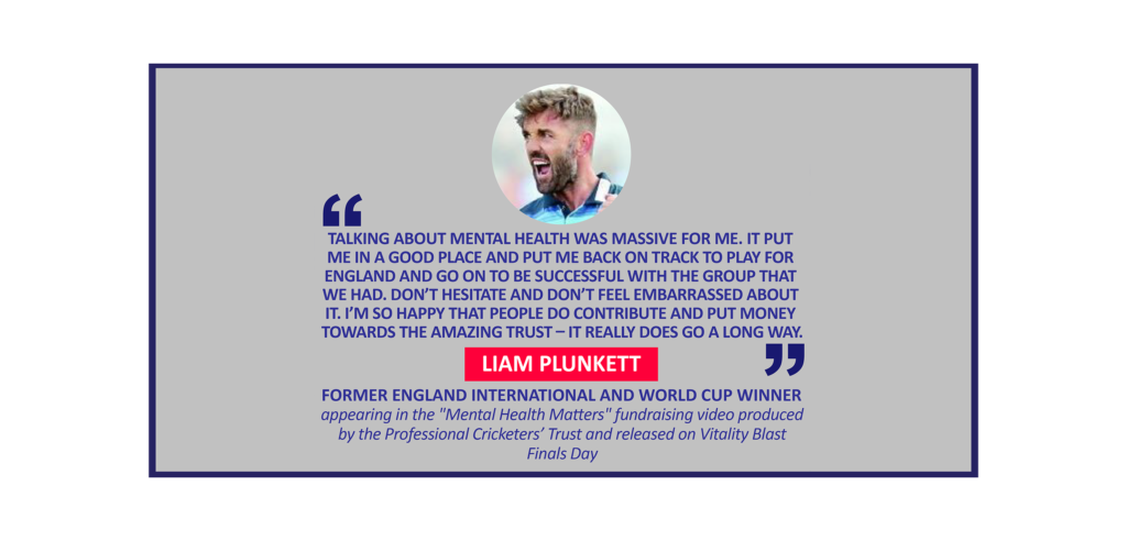 """Liam Plunkett, Former England international and World Cup winner appearing in the """"Mental Health Matters"""" fundraising video produced by the Professional Cricketers' Trust and released on Vitality Blast Finals Day"""