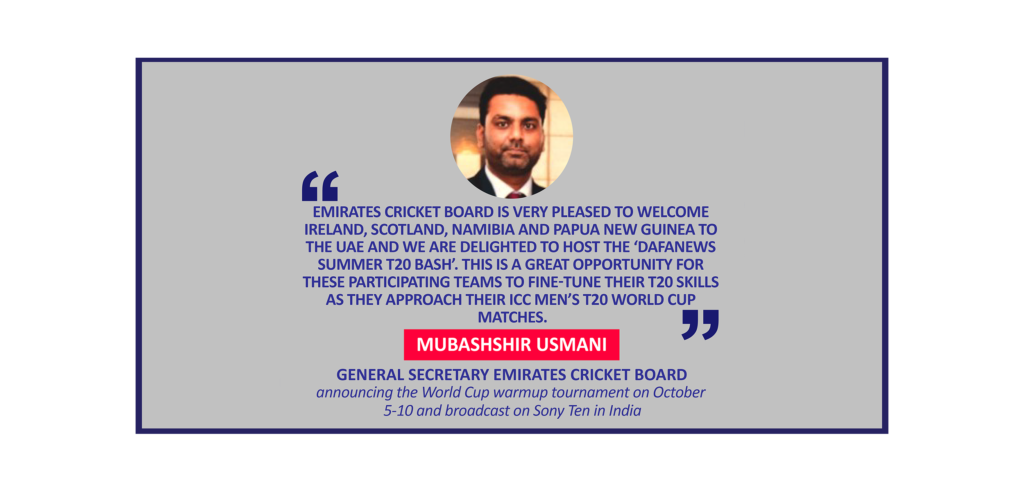 Mubashshir Usmani, General Secretary Emirates Cricket Board announcing the World Cup warmup tournament on October 5-10 and broadcast on Sony Ten in India