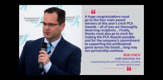 Rob Lynch, Chief Executive, PCA congratulating the cinch PCA winners, including Joe Root and Eve Jones