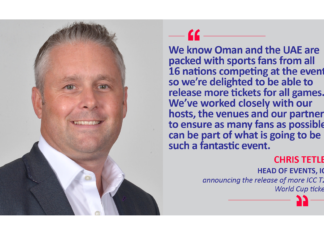 Chris Tetley, Head of Events, ICC announcing the release of more ICC T20 World Cup tickets