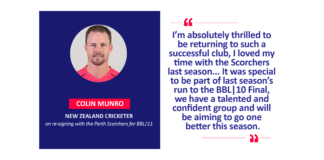Colin Munro, New Zealand Cricketer on re-signing with the Perth Scorchers for BBL|11