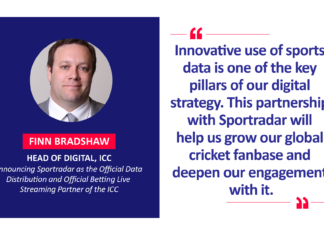 Finn Bradshaw, Head of Digital, ICC announcing Sportradar as the Official Data Distribution and Official Betting Live Streaming Partner of the ICC