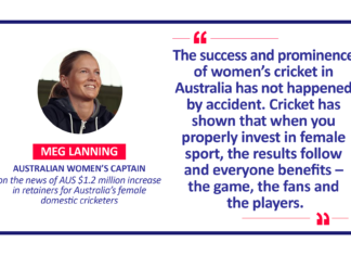 Meg Lanning, Australian Women's Captain on the news of AUS $1.2 million increase in retainers for Australia's female domestic cricketers