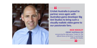 Nick Hockley, Cricket Australia CEO announcing the video game 'Cricket 22: The Official Game of the Ashes' in partnership with Big Ant Studios