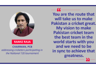 Ramiz Raja, Chairman, PCB addressing cricketers participating in the National T20 tournament