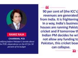 Ramiz Raja, Chairman, PCB testifying before Pakistan's Senate about the PCB's dependence on the ICC for 50 percent of its budget