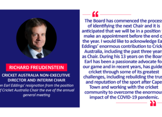 Richard Freudenstein, Cricket Australia Non-Executive Director and Interim Chair on Earl Eddings' resignation from the position of Cricket Australia Chair the eve of the annual general meeting